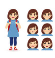school girl emotions vector image vector image