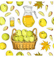 seamless pattern apples on white background vector image
