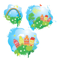 Set of Cartoons fairytale drawing images - houses vector image vector image