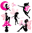 Set of silhouette fairy girls with butterflies vector image