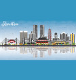 shantou china skyline with gray buildings blue vector image vector image