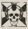 skull music punk vintage grunge design vector image