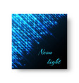 square greeting card with neon light vector image vector image