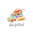 street food truck with lobster van delivery vector image