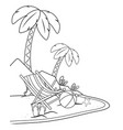 summer time and travel cartoon in black and white vector image vector image