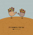 thanksgiving card with cute hand print turkeys vector image vector image
