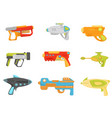 toy gun set weapon pistols and blasters for kids vector image