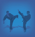 Two men are engaged in karate on a blue background vector image vector image