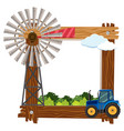 wooden frame template with turbine and tractor vector image vector image