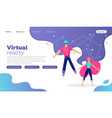 young man and woman in virtual reality glasses vector image