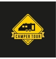 Camper yellow road sign machine vector image