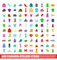 100 fashion atelier icons set cartoon style vector image vector image