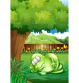 A fat monster sleeping under the tree at the yard vector image vector image