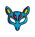 blue animal mask with yellow ears and red ornament vector image vector image