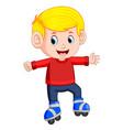 boy riding on roller skates vector image vector image