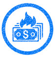 burn banknotes rounded grainy icon vector image vector image