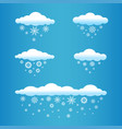 cartoon clouds with snow falls vector image vector image