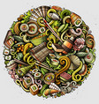 cartoon doodles japan food vector image