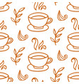 coffee cup seamless pattern hand drawn background vector image