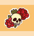 colorful dead skull sticker with flowers vector image vector image