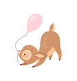 cute baby deer with pink balloon adorable forest