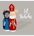 Cute Saint Nicholas with devil and lettering text vector image vector image