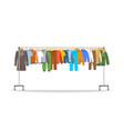 different men clothes on long rolling hanger rack vector image
