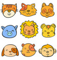 doodle of animal head vecry cute collection vector image vector image