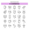e-commerce line icon set - 25 dashed outline style vector image