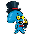 Filthy Rich Octopus Planting Money vector image vector image