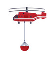 firefighting helicopter carrying bucket full of vector image vector image