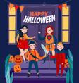 flat happy halloween poster vector image vector image