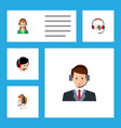 flat hotline set of operator secretary headphone vector image vector image