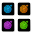 glowing neon target with arrow icon isolated on vector image vector image