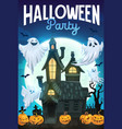 halloween ghosts pumpkins and bats with house vector image vector image