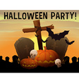 Halloween theme with graveyard and pumpkin vector image vector image