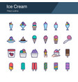 ice cream icons filled outline design vector image