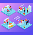 isometric laundry rooms set vector image vector image
