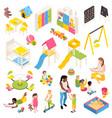 kindergarten isometric elements collection vector image vector image