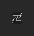 Letter Z logo modern monogram black and white thin vector image vector image