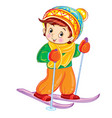 Little boy skiing in winter for a postcard