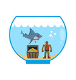 Mini shark in Aquarium and treasure chest Scuba vector image vector image