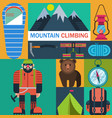 mountaineering icons vector image vector image