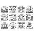 patricks irish holiday icons pub signs vector image vector image
