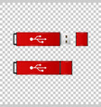 realistic red usb flash drive isolated object vector image