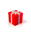 red cardboard box with white ribbon and bow gift vector image vector image