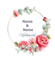 round wedding frame peony watercolor vintage vector image vector image