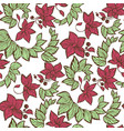 seamless floral pattern witn flowers leaves and vector image