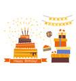 set birthday decoration with sweet cake vector image
