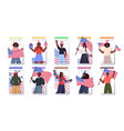 set people holding usa flags mix race men women vector image